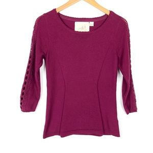 Anthropologie Angel of the North Purple Sweater Sm